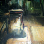 Krzesło  100 x 80 cm  olej, płyta