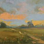 Pejzaż wiosenny  27 x 33 cm  olej, płótno