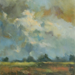 Pejzaż z chmurami  73 x 60 cm  olej, płótno